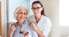 Elder woman and caregiver