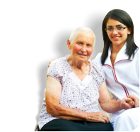 elder woman and female caregiver